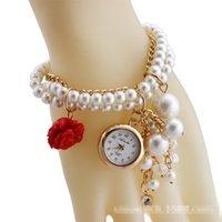 Wholesale 10pcs Korea Rhinstone Women Bracelets Watches Big Girls Lady Luxury Pearl Rose Crystal Round Watch Ladies Gift Quartz Wristwatches H1581