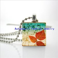 artistic glass tile - 2015 New Scrabble Art Pendant Artistic Leaves Necklace Artistic Leaves Series Wooden Scrabble Tiles E