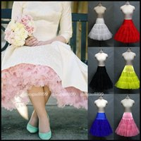 Polyester tulle petticoat - In Stock Ruffled Petticoats Colorful Red White Pink Yellow Blue Underskirt s Vintage Tulle Skirt For Bridal Gowns Formal Dresses