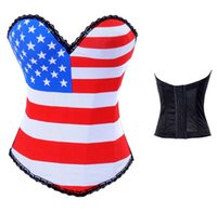 beauty night lingerie - Pure cotton bone glue printed flag of corsets beauty lingerie Night club party dress