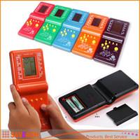 Wholesale 2016 Tetris Brick Handheld Game Toy HandHeld LCD Electronic Game Triple Tetris Brick Game Sliding Blocks for kids