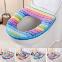 Wholesale Popular Sale Toilet Seat Cover Washable Bathroom Overcoat Toilet Case Lid Closestool Striped Warm Toilet Mat Cushion JI0068 Salebags