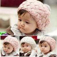 boys beanie caps - Christmas Gift Baby hats Pom pom pink knit hat girls boys beanie winter toddler kids boy girl faux warm crochet cap M years G147