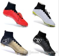 Wholesale New Hot Silvery White CR7 High Ankle Soccer Shoes Men Good Quality Brand Football Boots Soccer Cleats