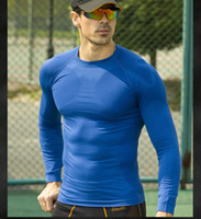 lycra t shirt - Newest fitness men long sleeve basketball running sports t shirt men thermal muscle bodybuilding gym compression tights shirt