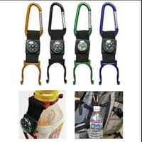 Wholesale Outdoor Bottle Holder Carabiner Hook Buckle With Compass for Traveling Climbing hiking Bag Travel Accessories