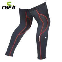 Wholesale Cheji Red Black Bicycle Ciclismo Leg Warmers Sleeves Bike Legwarmers UV Warm Cycling Leggings