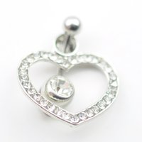belly rings diamond - 0003 heart clear stone navel belly ring body jewelry fashion Dangle Accessories Fashion Charm drop shipping