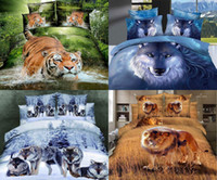 Wholesale Cool d Bedding Sets Printed Tigers Or Wolfs Animals Cotton Comforter Sets Queen Full Bed Duvet Cover Set