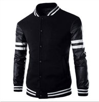 Wholesale Veste Homme Autumn Slim Fit Casual Sports Baseball Jackets PU Leather Sleeve Jacket Men Bomber Jackets And Coats hight quality free shippin