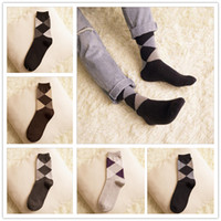 argyle socks men - New style Mens plaid wool socks mens casual socks warm socks argyle socks mens socks LA19