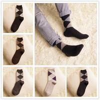 argyle sock - New style Mens plaid wool socks mens casual socks warm socks argyle socks mens socks LA19