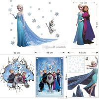 Wholesale Christmas Wall Stickers Wallpaper Rolls Removable Frozen Queen Elsa Olaf CM Wall Decals Home Décor Sticker For Kids Room Factory Price