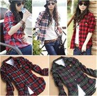 Cheap Fashionable Women Plaid Shirt Long Sleeve Plaid Blouse Casual Shirt M~XXL 5 Colors