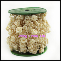 Wholesale 30 Meter Ivory Roses Pearl Garland Bead Wedding Decoration Table Flower Bouquet Centerpiece Bridal Hair Decor