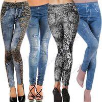 women leggings - 2015 New hot selling Women s Denim Look Ripped Faux Jeans Leggings Jeggings skinny tights pants types SV001374