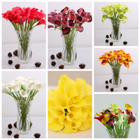 Wholesale Bride Flowers Colors PU Real Touch Yellow Mini Calla Lily For Wedding Bouquet