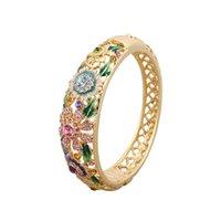 beijing bracelets - Ms gold plated color bracelets fashionable retro hollow out wide enamel bracelet Beijing cloisonne bracelet beautiful box