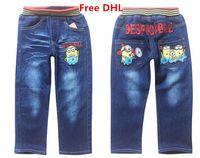 Wholesale Free DHL Minions Cartoon Jeans Despicable Me Boys Denim Pants Boys Jeans Kids Spring Autumn Long Pants For yr