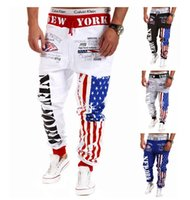 american flag spandex pants - hot new printing on the American flag letter men sweatpants brand design high quality flag men haroun pants men s