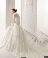 Wholesale Elegant A line Bridal Short Sleeve Gown Sweep Train Chinese Lace Wedding Dress
