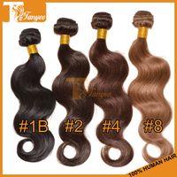 cheap black hair - 5A Brazilian Virgin Hair Extensions Body Wave Remy Human Hair Weave Cheap Natural Black Dark Medium Light Brown Brazilian Hair Weft