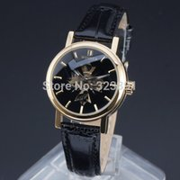 best mechanical wrist watch - new hot sale women winner fashion self wind mechanical wrist leather watch best gift for girl casual skeleton