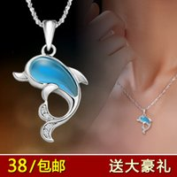 aquamarine silver jewelry - Dolphin Aquamarine Sterling Silver Necklace Pendant Korean female silver jewelry gift clavicle short shipping