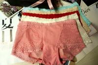 Wholesale Lace Boy Short Panties - Soft Modal Lace Fishnet Vitoriaseret Underwear For Girls Women Sexy Low Rise Boxer Briefs Girls Panties Breathable Culottes Filles Modal