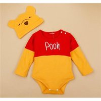 baby girl long sleeve onesies - Hot Cartoon style Winnie the Pooh baby clothes baby Pure Cotton Rompers Baby onesies Hats Rompers Baby girls boy One Pieces