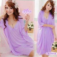 Wholesale 2014 Miss Xia Ji ice silk suspenders sexy nightgown nightgown two piece pajama sleeve tracksuit Set
