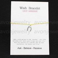 ancient lucky charms - 2016 hot sale Lucky horseshoe ancient silver String bracelet gift Card with Friendship Charm Wish bracelet girls fashion