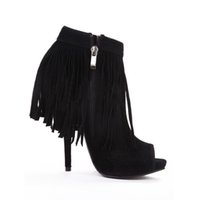GUCCI RUNWAY 08 BABOUSKA BLACK SUEDE FRINGE BOOTS for sale a