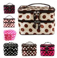 Wholesale Women Retro Dot Beauty Case Makeup Set Large Cosmetic Tool Storage Toiletry Bag