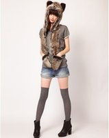 Wholesale Brown faux fur scarf hat gloves one piece set slobbish hooded leather strawhat one piece cartoon cap belt scarf colors