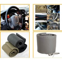Wholesale Car PU Leather cm Steering Wheel Wrap Cover DIY Needles Thread