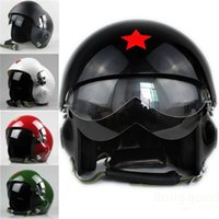 air force cycling - Motorcycle Scooter Helmet Cycling Helmet Air Force Jet Pilot Flight Double Lens Size L
