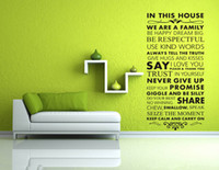Removable bedroom wall sayings - In This House We Are A Family Large Size Black Lettering Wall Stickers Quotes and Saying Art Wall Decor Decals for Living Room Bedroom