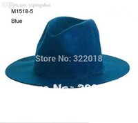 Wholesale Novelty Men Faux Wool Felt Hats Women Winter Blank Trilby Caps Mens Floppy Brim Hat Womens Fedora Cap Fall Spring