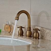 antique vanities - And Retail Brand NEW Antique Brass Bathroom Sink Faucet Cross Handles Tall Spout Vanity Sink Mixer Tap