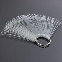 Wholesale Fashion Nail Art Tips False Tips Board Fan Shape Display Tools Polish Gel Practice Clear Transparent Decoration