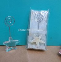 beach theme place cards - 100pcs Choice Beach theme Event Supplies Crystal Starfish wedding decor table place card holder