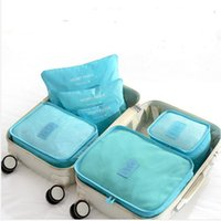 Wholesale 6pcs SET Waterproof Travel Organizer Bag Clothes Pouch Portable Suitcase Luggage Storage Case psets
