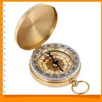 antique brass compass - G50 Golden Antique Brass Mini Navigation Pocket Compass Noctilucent Vintage Compass for Outdoor Camping Hiking