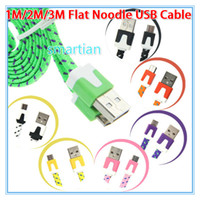 Wholesale 1M FT M FT M FT S7 Micro USB Cable Adapter Noodle Flat Braided Charging Data Cable Nylon Line Woven Wire For Galaxy S5 Note S6 Edge