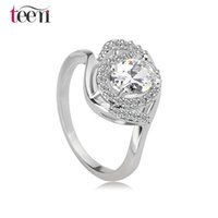 alloy rings suppliers - Teemi Supplier New Fashion Classic White Gold Plated Top Quality Clear CZ Stone Finger Rings for Women Female Engagement Jewelry