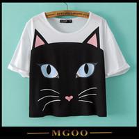 Cheap Cute Cat Print T-shirt Best Short Sleeves Women Tee