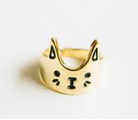 Cheap wholesale mix color Fashion Rings 18k Gold plated Filled Ring Simple Cute Animal Cat Rings Free Shipping