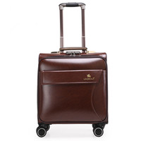 Wholesale 16 inches leather Trolley Luggage Vintage Suitcase brown boarding package Business Travel Bags Men Women Plural colors