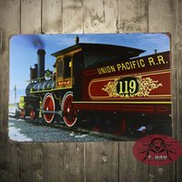 antique engines - UNION PACIFIC metal Sign with vintage image of a Train Engine Made in the USA